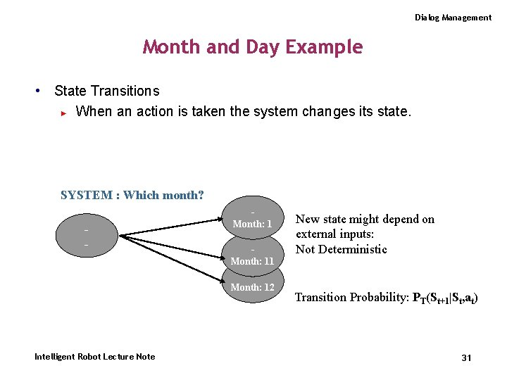 Dialog Management Month and Day Example • State Transitions ► When an action is