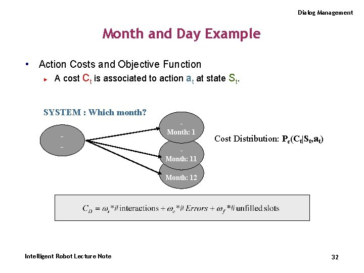 Dialog Management Month and Day Example • Action Costs and Objective Function ► A