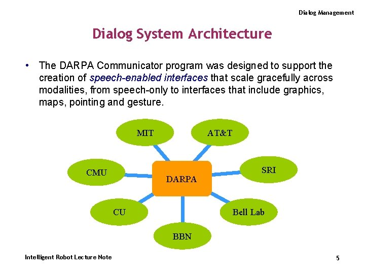 Dialog Management Dialog System Architecture • The DARPA Communicator program was designed to support