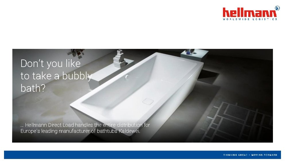 Don't you like to take a bubbly bath? … Hellmann Direct Load handles the