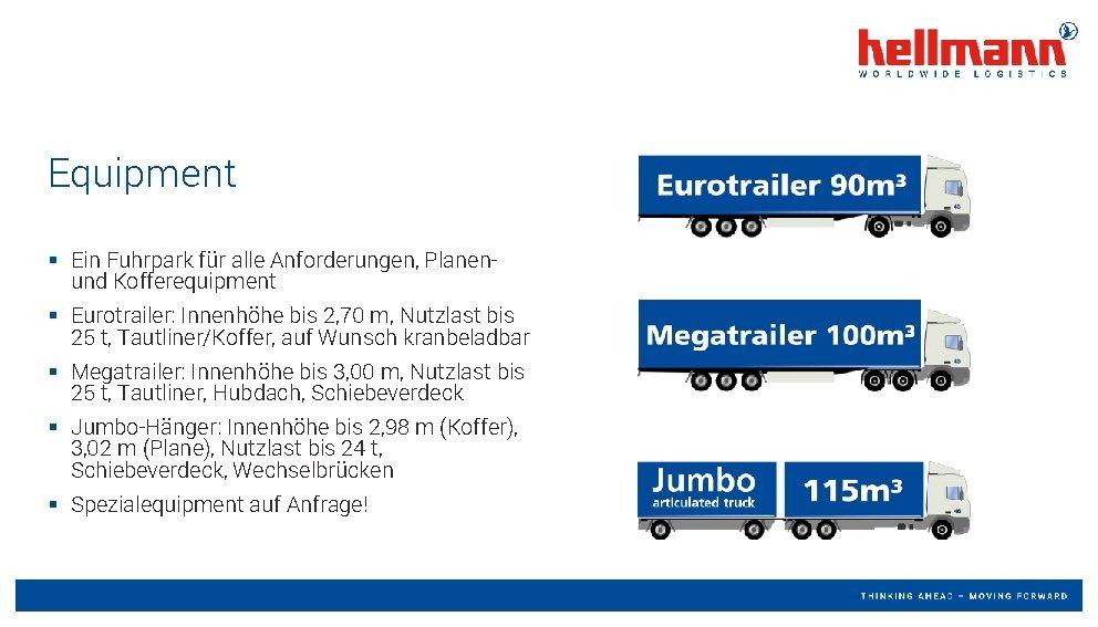 Equipment § Ein Fuhrpark für alle Anforderungen, Planenund Kofferequipment § Eurotrailer: Innenhöhe bis 2,