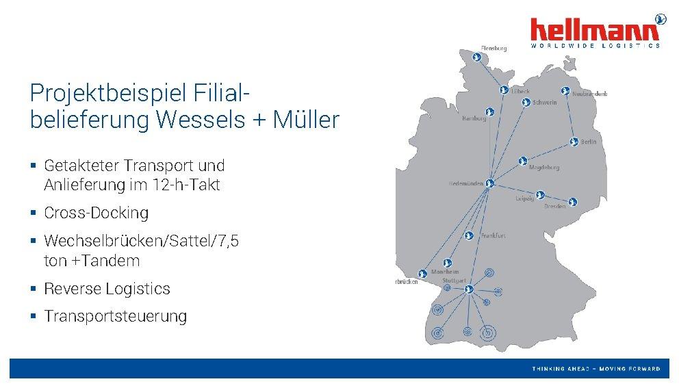 Projektbeispiel Filialbelieferung Wessels + Müller § Getakteter Transport und Anlieferung im 12 -h-Takt §