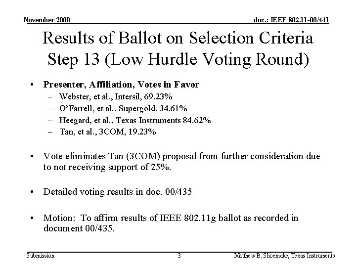 November 2000 doc. : IEEE 802. 11 -00/441 Results of Ballot on Selection Criteria