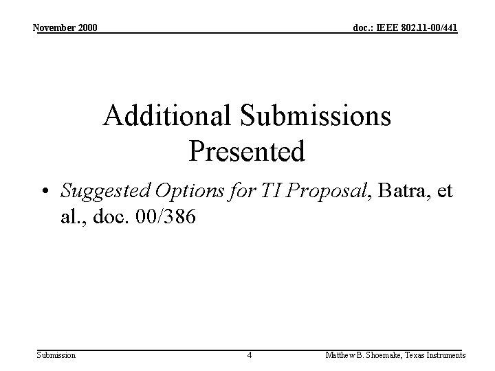 November 2000 doc. : IEEE 802. 11 -00/441 Additional Submissions Presented • Suggested Options