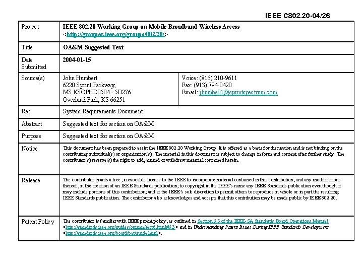 IEEE C 802. 20 -04/26 Project IEEE 802. 20 Working Group on Mobile Broadband