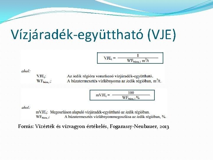Vízjáradék-együttható (VJE) Forrás: Vízérték és vízvagyon értékelés, Fogarassy-Neubauer, 2013