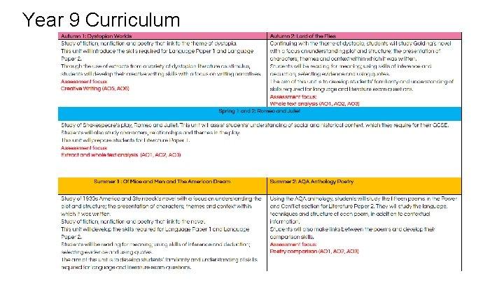 Year 9 Curriculum