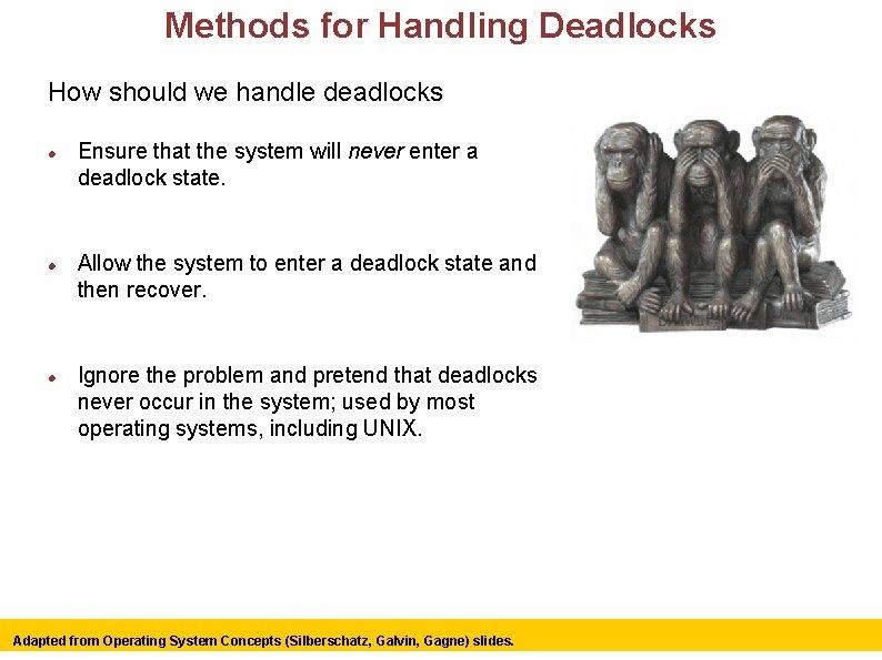 Methods for Handling Deadlocks How should we handle deadlocks Ensure that the system will