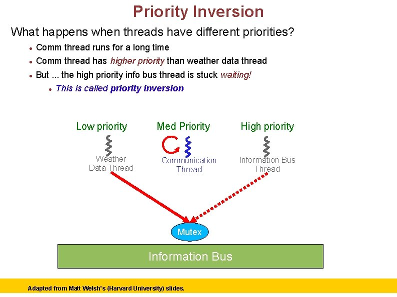 Priority Inversion What happens when threads have different priorities? Comm thread runs for a