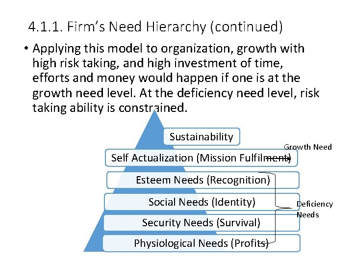 4. 1. 1. Firm's Need Hierarchy (continued) • Applying this model to organization, growth
