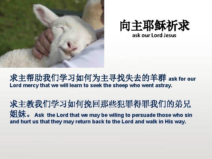 向主耶稣祈求 ask our Lord Jesus 求主帮助我们学习如何为主寻找失去的羊群 ask for our Lord mercy that we will