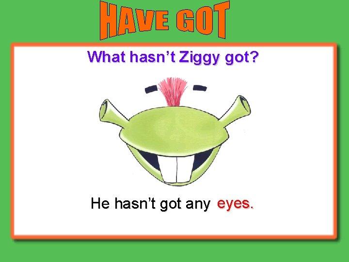What hasn't Ziggy got? He hasn't got any eyes.