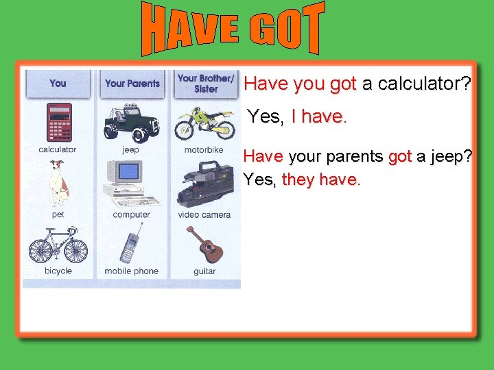 Have you got a calculator? Yes, I have. Have your parents got a jeep?
