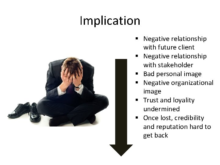 Implication § Negative relationship with future client § Negative relationship with stakeholder § Bad