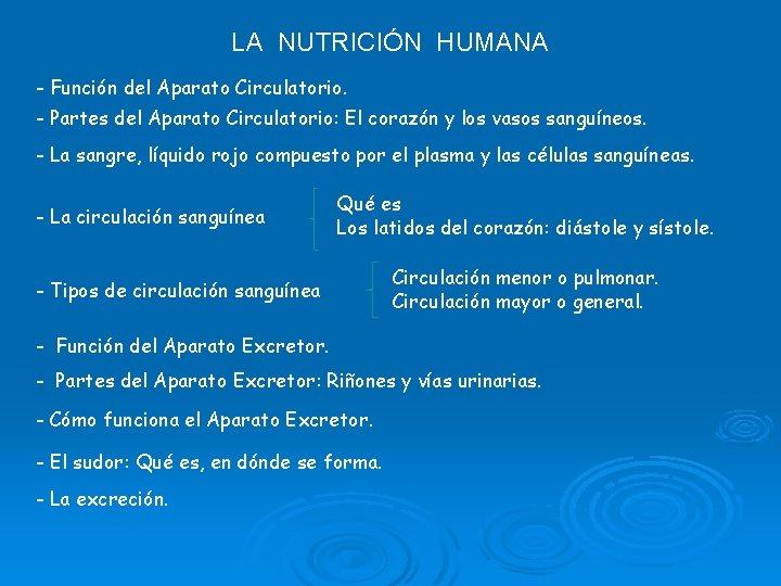 LA NUTRICIÓN HUMANA - Función del Aparato Circulatorio. - Partes del Aparato Circulatorio: El