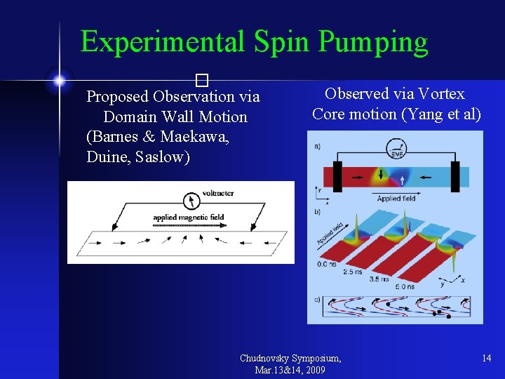 Experimental Spin Pumping � Proposed Observation via Domain Wall Motion (Barnes & Maekawa, Duine,