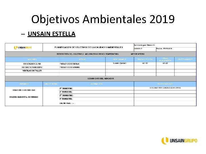 Objetivos Ambientales 2019 – UNSAIN ESTELLA