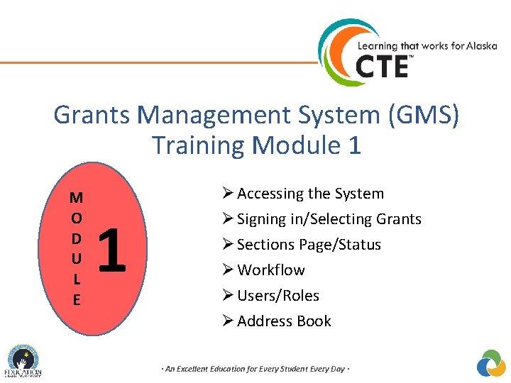 Grants Management System (GMS) Training Module 1 M O D U L E 1