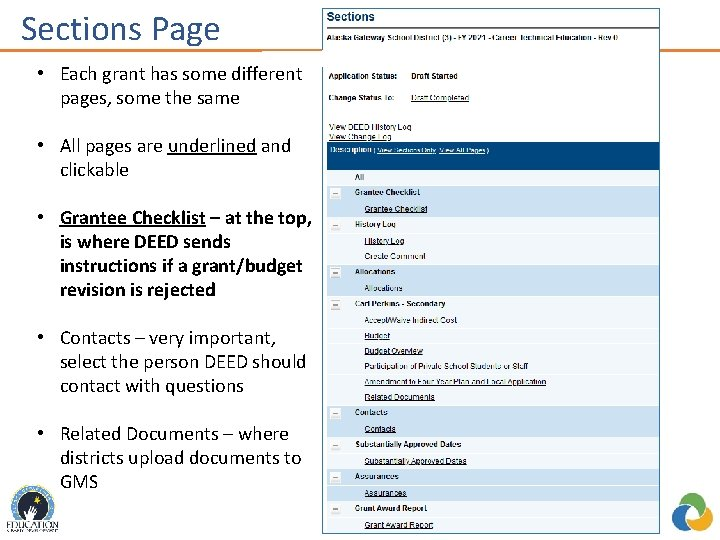 Sections Page • Each grant has some different pages, some the same • All