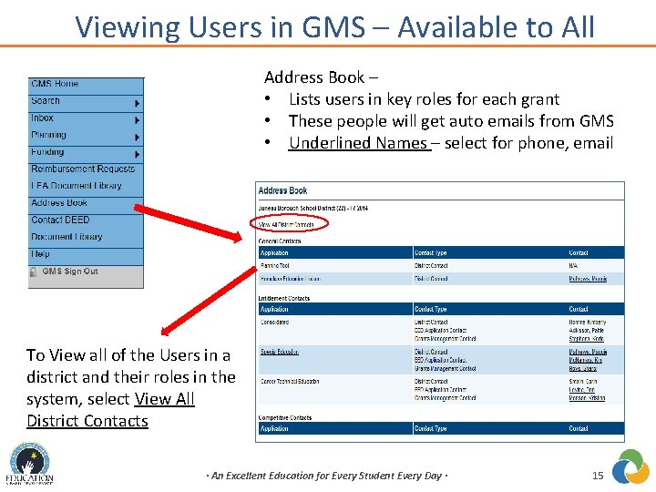 Viewing Users in GMS – Available to All Address Book – • Lists users