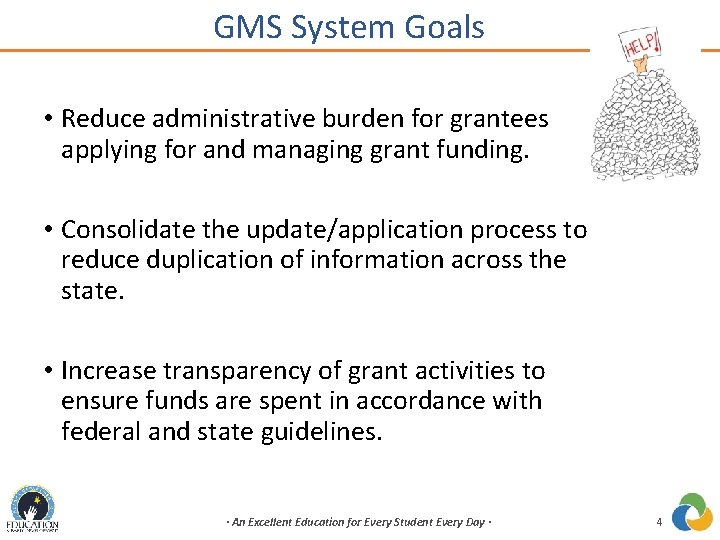 GMS System Goals • Reduce administrative burden for grantees applying for and managing grant