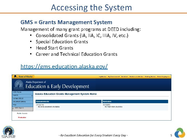 Accessing the System GMS = Grants Management System Management of many grant programs at