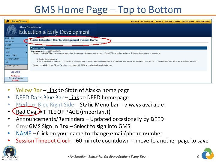 GMS Home Page – Top to Bottom • • Yellow Bar – Link to