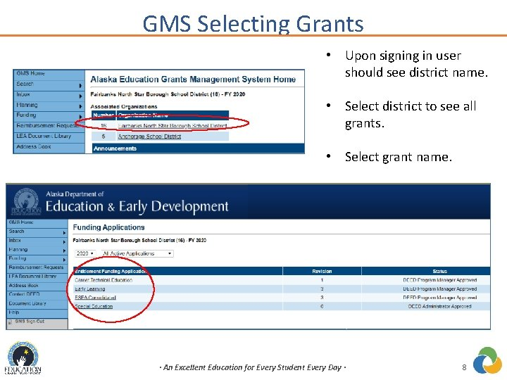 GMS Selecting Grants • Upon signing in user should see district name. • Select