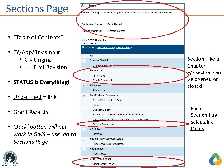 """Sections Page re • """"Table of Contents"""" • FY/App/Revision # • 0 = Original"""