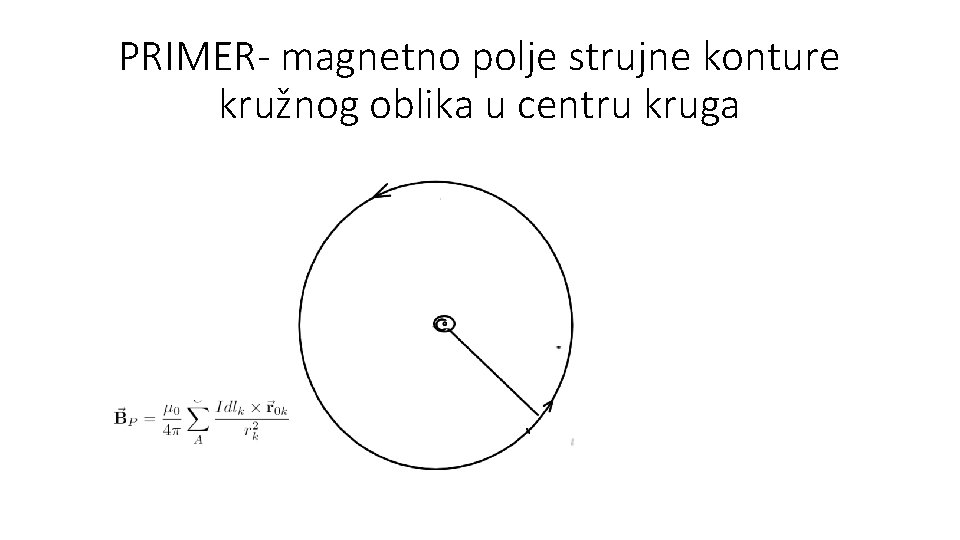 PRIMER- magnetno polje strujne konture kružnog oblika u centru kruga
