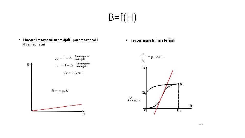 B=f(H) • Linearni magnetni materijali –paramagnetni I dijamagnetni • Feromagnetni materijali