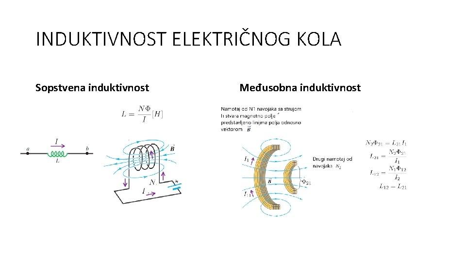 INDUKTIVNOST ELEKTRIČNOG KOLA Sopstvena induktivnost Međusobna induktivnost