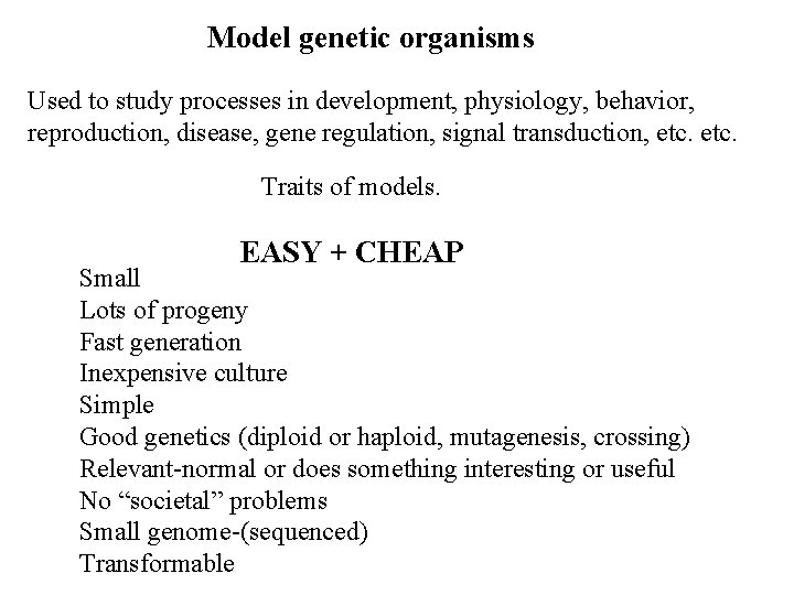 Model genetic organisms Used to study processes in development, physiology, behavior, reproduction, disease, gene