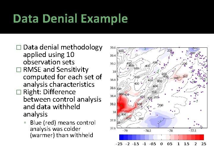 Data Denial Example � Data denial methodology applied using 10 observation sets � RMSE