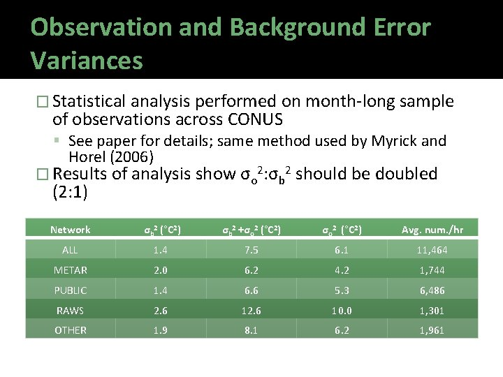 Observation and Background Error Variances � Statistical analysis performed on month-long sample of observations
