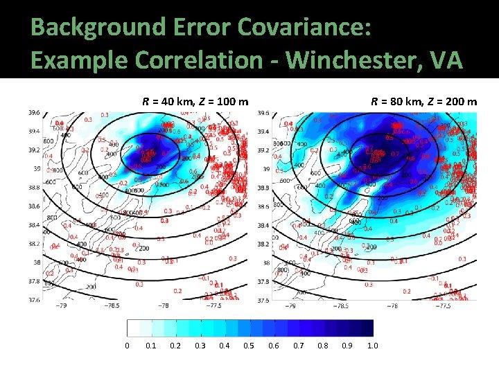 Background Error Covariance: Example Correlation - Winchester, VA R = 40 km, Z =