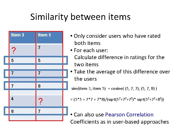 Similarity between items • Only consider users who have rated both items • For