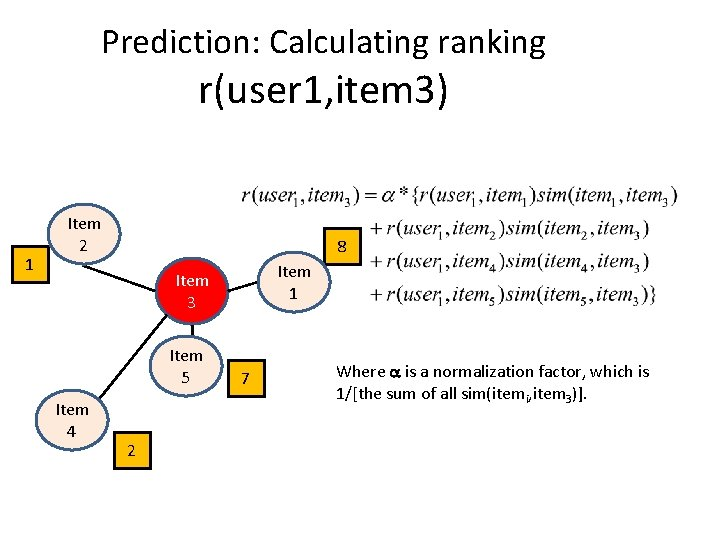 Prediction: Calculating ranking r(user 1, item 3) 1 Item 2 8 Item 1 Item