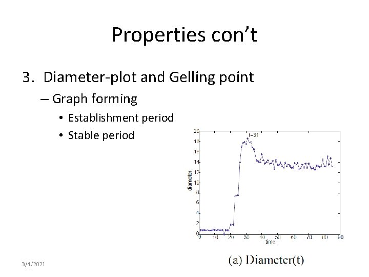 Properties con't 3. Diameter-plot and Gelling point – Graph forming • Establishment period •