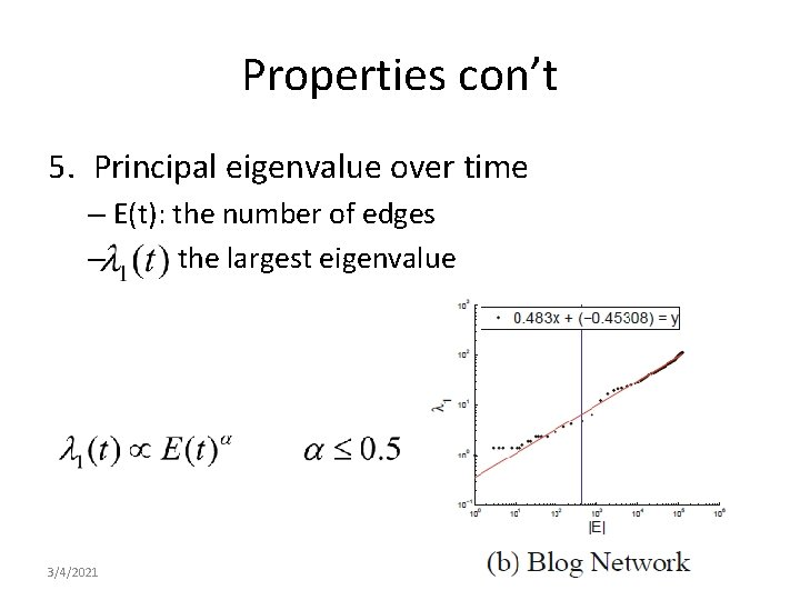 Properties con't 5. Principal eigenvalue over time – E(t): the number of edges –