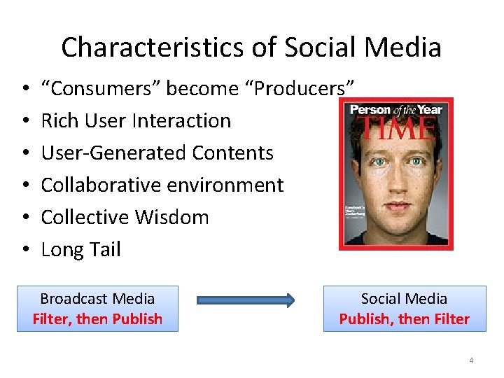 """Characteristics of Social Media • • • """"Consumers"""" become """"Producers"""" Rich User Interaction User-Generated"""