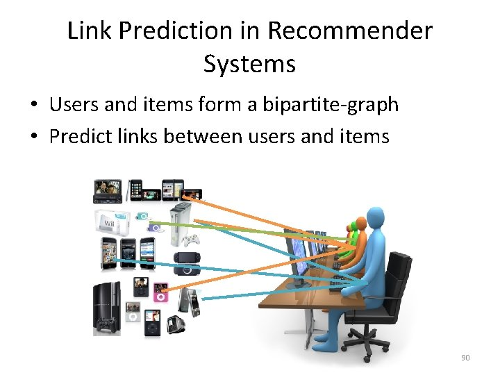 Link Prediction in Recommender Systems • Users and items form a bipartite-graph • Predict