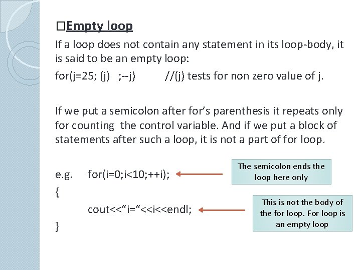�Empty loop If a loop does not contain any statement in its loop-body, it