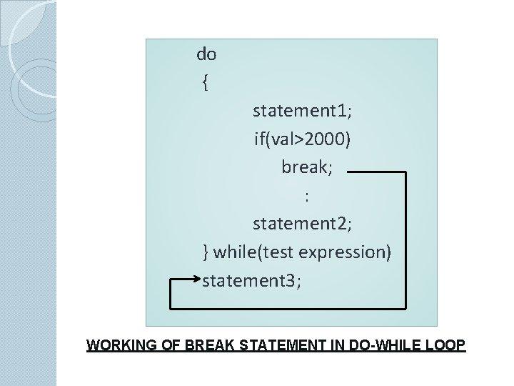 do { statement 1; if(val>2000) break; : statement 2; } while(test expression) statement 3;