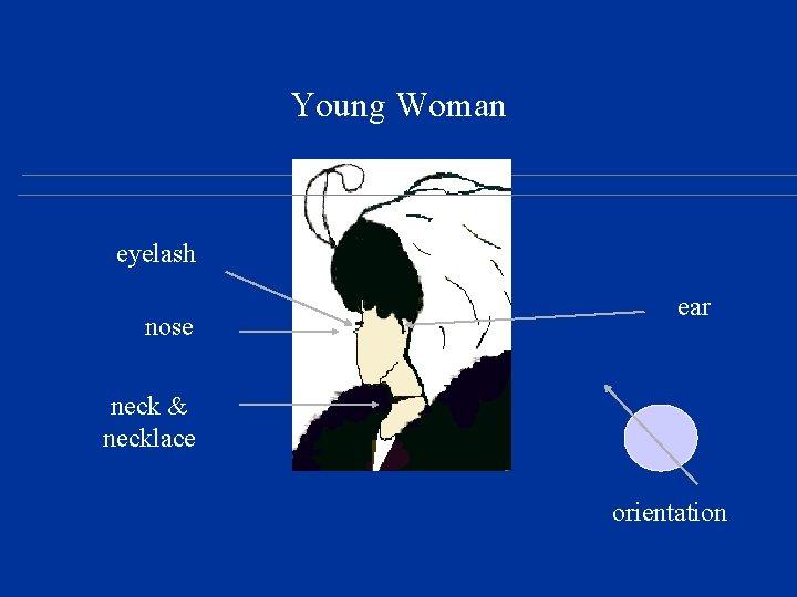 Young Woman eyelash nose ear neck & necklace orientation