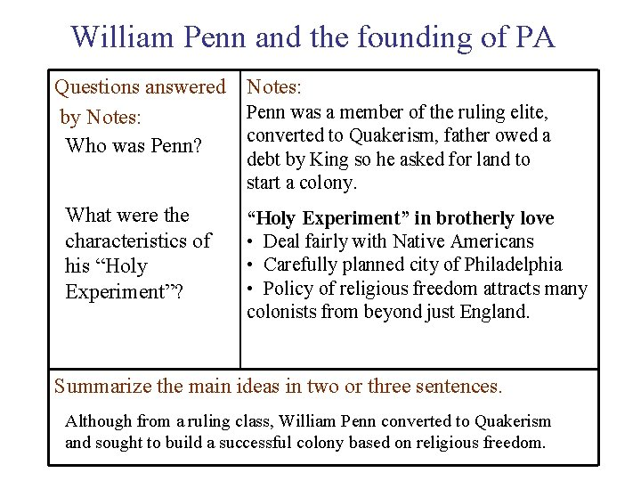 William Penn and the founding of PA Questions answered Notes: Penn was a member