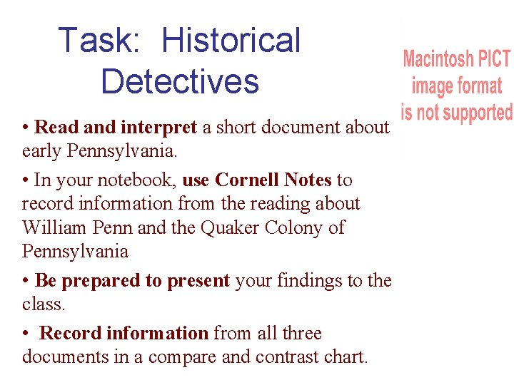 Task: Historical Detectives • Read and interpret a short document about early Pennsylvania. •