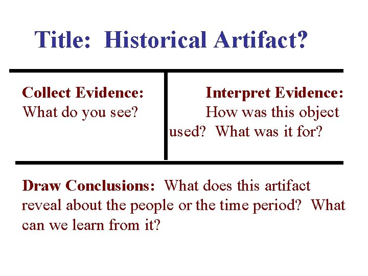 Title: Historical Artifact? Collect Evidence: What do you see? Interpret Evidence: How was this