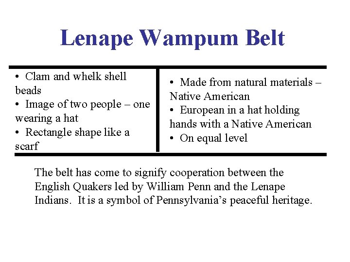 Lenape Wampum Belt • Clam and whelk shell beads • Image of two people