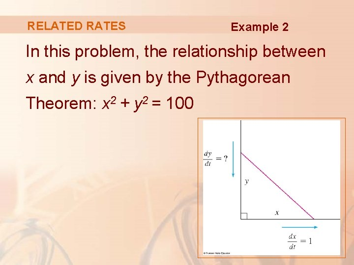 RELATED RATES Example 2 In this problem, the relationship between x and y is